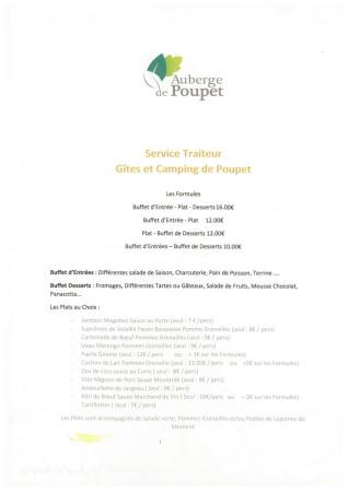 Menus et tarifs Poupet 2018